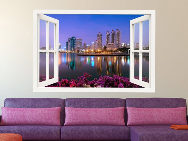 3D window romantic city
